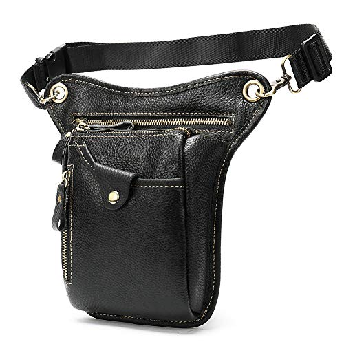 Genuine Leather Waist Leg Bag Pack for Men Women/Drop Leg Bag/Hip Thigh Bag Multi-pockets Motorcycle Bike Cycling Tactical Riding Hiking Camping Outdoor Sports(black)