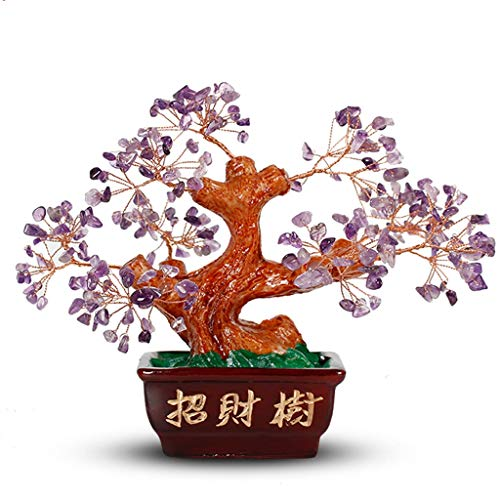 NYKK Ornamento de Escritorio Inicio Sala de Estar Feng Shui decoración del árbol Bonsai Fortuna árbol del Dinero for la Buena Suerte artesanías decoración (Color : A)