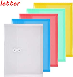 TIENO Poly Envelopes with String Tie Closure Assorted Color Letter Size Side Loading Folders Office Supplier 5pcs