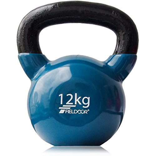 FIELDOOR ケトルベル 12kg PVCコーティング 音軽減 キズ防止 体幹トレーニング