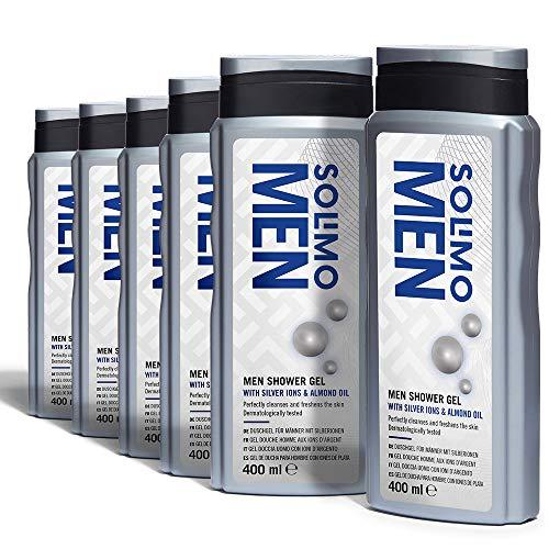Marca Amazon - Solimo Gel de ducha para hombre con iones de plata y aceite de almendra- Paquete de 6 (6 Botellas x 400 ml)