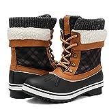 Aleader Waterproof Winter Boots for Women, Warm Snow Booties Black/Camel 8 B(M) US