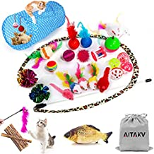 29 PCS Cat Toys Kitten Toys Assortments,Variety Catnip Toy Set Including 2 Way Tunnel,Cat Feather Teaser,Catnip Fish,Mice,Colorful Balls and Bells for Cat,Puppy,Kitty