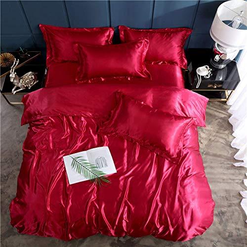 N\C Traje de Cuatro Piezas de Seda de Hielo de Doble Cara Sedoso Rojo Neto, sábana de Colcha para Dormir Desnuda de Verano, Ropa de Cama Burdeos Traje de Tres Piezas de 1.2 Camas