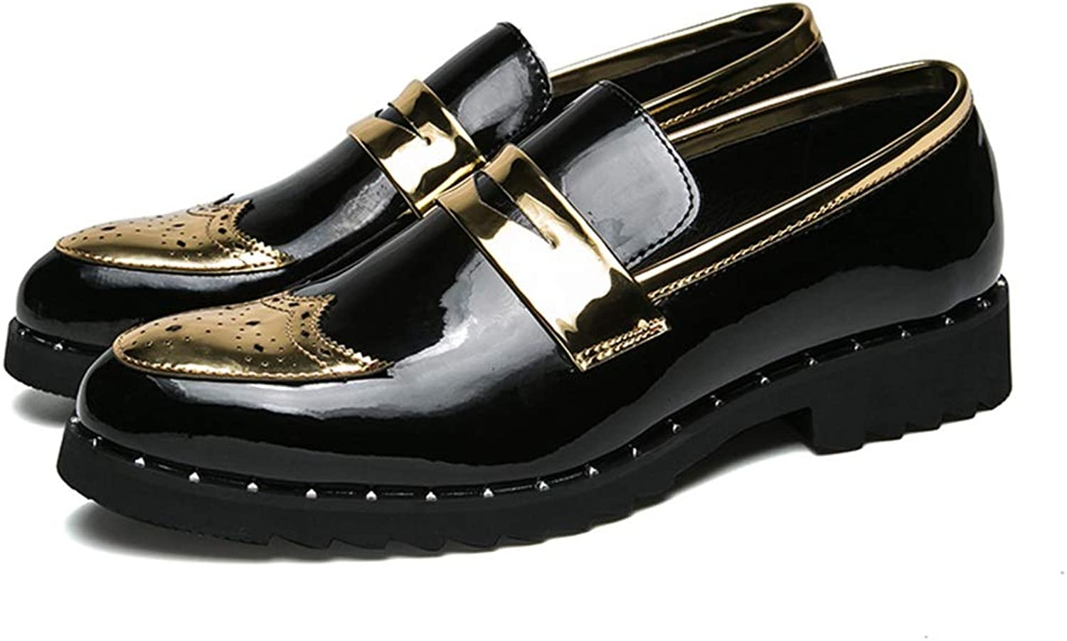 Men's Oxford Casual Personality Patchwork Slip On Patent-Leather Brogue shoes Cricket shoes