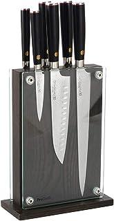 ProCook Damascus 67 - Set de Couteaux de Cuisine Avec Bloc Magnétique en Verre & Bois - Lot 6 Pièces - Ensemble de Couteau...