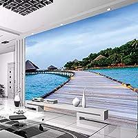 3D写真壁紙モルディブ海辺の風景3Dリビングルーム寝室テレビの背景家の装飾壁壁画-300x210cm