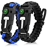 Zhao.Fu Paracord Survival Bracelet (2 Pack) - Adjustable | Fire Starter, Whistle, Emergency Knife, Compass, Outdoor Multifunctional Tactical Equipment - Hiking & Camping Gear & Fishing & Hunting