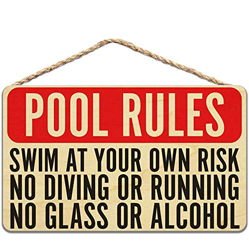 "Holzschild mit Aufschrift ""Pool Rules Swim at Own Risk No Diving Running Glass Alcohol Wood"", 20 x 30 cm"