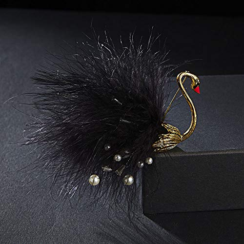 XKMY Broche de estilo vintage para mujer, de lujo, con plumas, cisne, alfileres de lape, joyería para bufanda, pájaro, diamantes de imitación para banquetes (color metálico: negro)