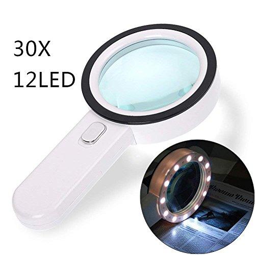 Lupa con Luz LED, GEMWON Lupa Lectura Grande Lupa 30X Lupa de Mano para Leer Libros, Periódico y Mapas
