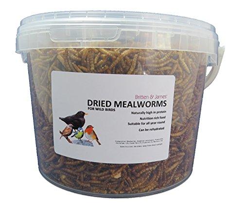 Britten & James - Dried Mealworms Getrocknete Mehlwürmer. Essen für Wilde Vögel. 3 Liter Versiegelte Wanne
