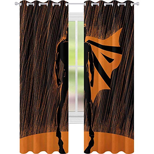 Cortinas opacas para dormitorio, diseo de hroe disfrazado por la noche con superpoderes dibujados a mano, impresin de hombre musculoso, 52 x 72 de ancho para comedor, color naranja y negro