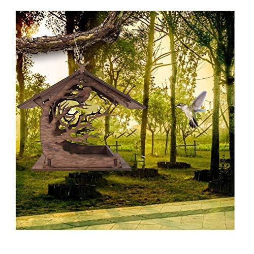 DIY Futterhaus Vögel Vogelhäuschen,Futterspender für Mehlwürmer zum Aufhängen,handmontierte Holzhaus Garten Vogelhäuschen Hof Villa Villa Balkon Vogelhäuschen, Futtersäule für Vögel