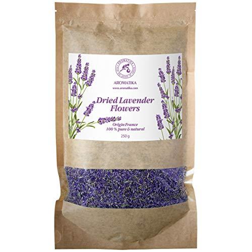 Flores Secas de Lavanda 250g - Provenza Francesa - 100% Puras y Naturales - Mejor Olor a Lavanda - Bolso Grande Revendible - Brotes de Lavanda Fragantes