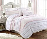 Cozy Line Home Fashions Pink Princess Ruffle 100% Cotton Reversible Bedding Quilt Set (Pink Princess, Full/Queen - 3 Piece)