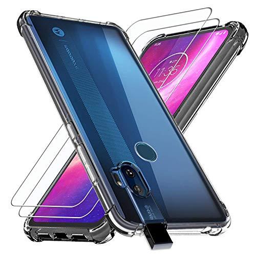 """Kit Danet Capa E 2 Películas Para Motorola Moto One Hyper Tela de 6.5"""" Polegadas Capinha Case Transparente Air Anti Impacto e Película De Vidro Temperado"""