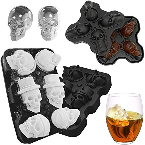 Sunerly 3D Skull Shape Black BPA Free Silicone Ice Cube Mould Tray with Lid Makes 4 6 Vivid Skulls, Freezer Tray for Whiskey, Cocktail, Liqueur and Gin Glasses
