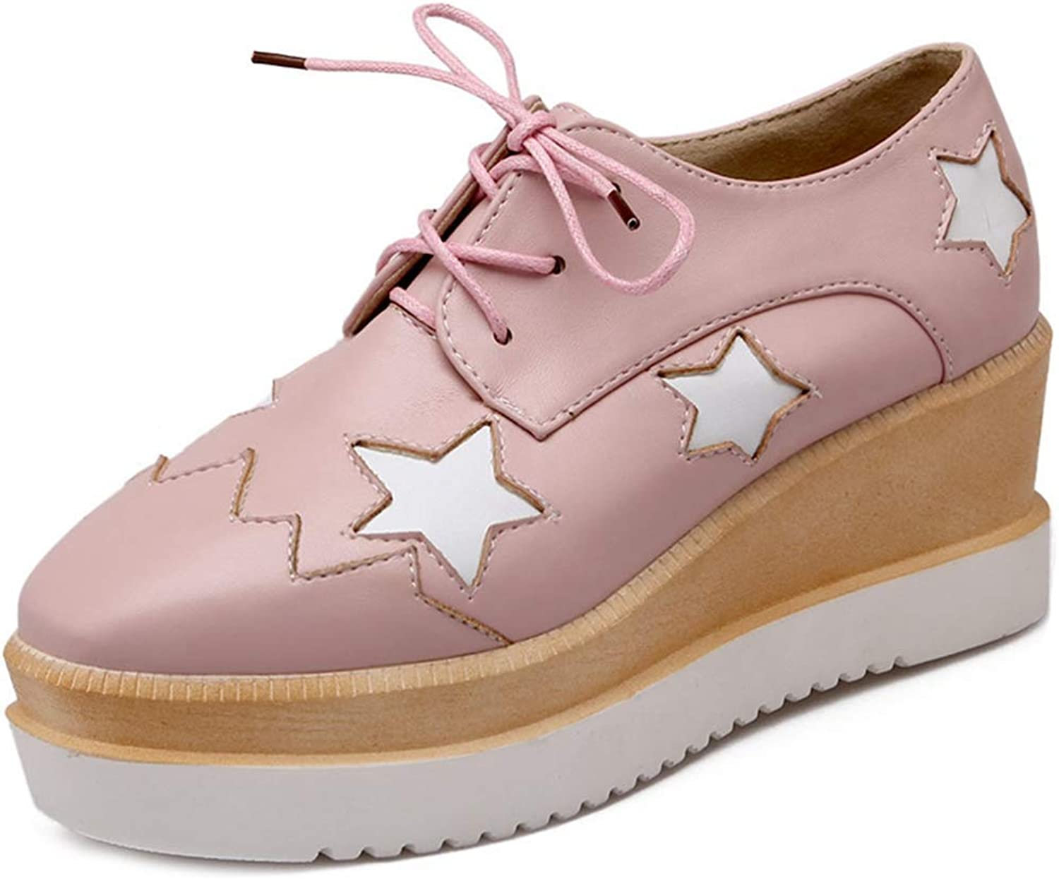 Beautiful - Fashion Platform Wedge Oxfords shoes for Women Wingtip Lace-Up Chunky High Heel Stars Classic Dress Pumps