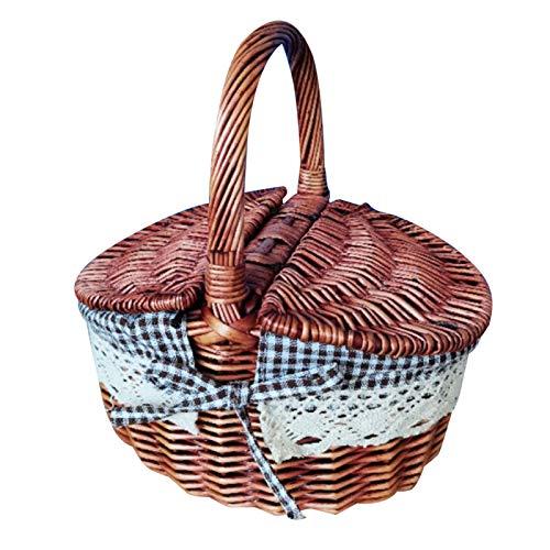 Verliked Handgeflochtener Rattan-Aufbewahrungskorb für Picknick, Camping, Einkaufskorb mit Deckel, Kaffeebraun
