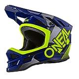 O'NEAL | Casco de Bicicleta de montaña | MTB DH | Forro Dri-Lex, Agujeros de ventilación para Enfriar, Carcasa Exterior de ABS | Casco Blade POLYACRYLITE Delta | Adulto | Azul Amarillo Neón | Talla M
