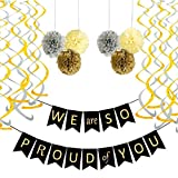 Graduation Decorations, Graduation Party Decorations Graduation Party Supplies 2020,We are So Proud of You Banner with 6 Pom Poms 2 Gold 2 Yellow 2 Silver, 6 Swirls 3 Gold 3 Silver