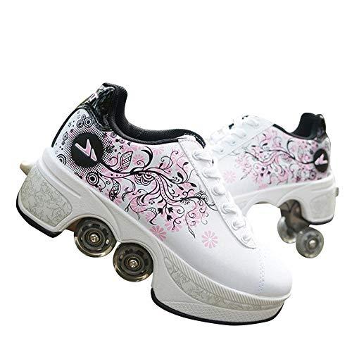 YYW Deformation Rollschuhe mit Rollen für Damen Mädchen Jungen Unisex Schuhe mit vier Rädern Sport Outdoor 2-in-1 Mehrzweckschuhe Wanderschuhe Kick Roller Schuhe (weiß schwarz puder, 36)