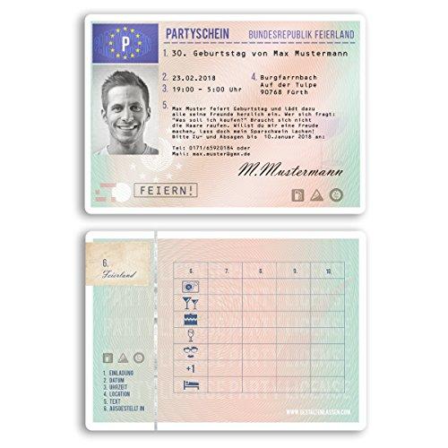 (40 x) Einladungskarten Geburtstag Führerschein Fahrerlaubnis Ausweis Einladungen