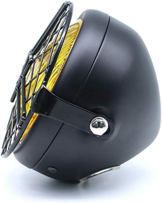 Faros de Motocicleta con Parrilla de Malla para Motocicleta Cafe Racer Bobber Cruiser