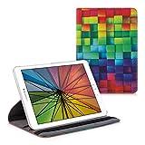 kwmobile Funda Compatible con Samsung Galaxy Tab S2 9.7 - Carcasa de Cuero sintético para Tablet Cubos Colores Multicolor/Verde/Azul