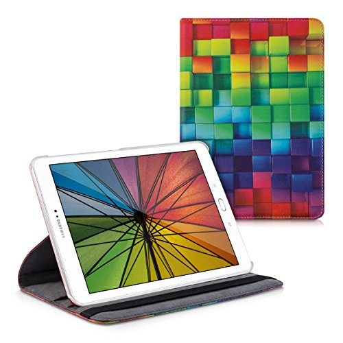 kwmobile Hülle kompatibel mit Samsung Galaxy Tab S2 9.7-360° Tablet Schutzhülle Cover Case - Regenbogen Würfel Mehrfarbig Grün Blau