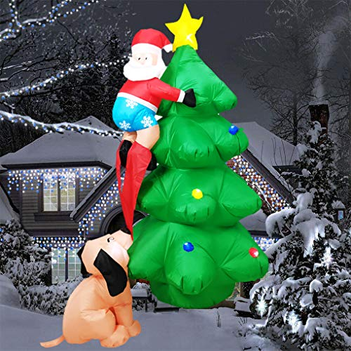 6FT Christmas Inflatables Outdoor Decorations Santa Claus Being Chased Up The Tree, Christmas Blow Up Yard Decorations, Inflatable Christmas Tree Decoration Indoor-Outdoor Christmas Decoration