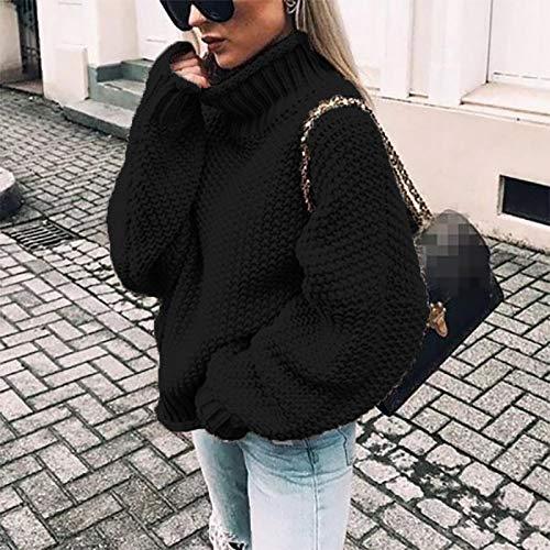 Socluer Donne Maglione Casual Maglia Alta Colletto Collare Allentato Maglioni Inverno Lungo Chunky Knit Maglia Eleganti Moda Top Oversize
