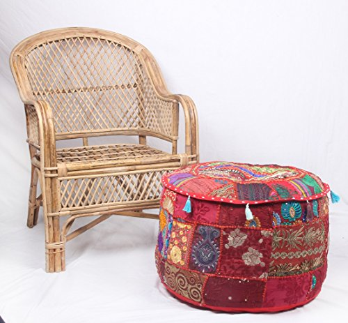 Jaipur Textile Hub JTH Decorative Indian Pouf Ottoman Round Patchwork Ethnic Floor Décor Ottoman (Size: 20X12X20 Inch) JTH-OP-FBA06 (Red)