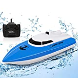SZJJX RC Boat, 2.4GHz High Speed Remote Control Boats for Lake/Pool/Pond, Electric RC Racing Boats for Adults & Kids-Blue