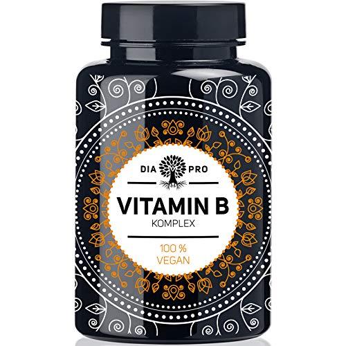 DiaPro® Vitamin B Komplex PREMIUM 200 vegane Kapseln hochdosiert mit 500 µg Vitamin B12 pro Tagesdosis insgesamt 8 B-Vitaminen