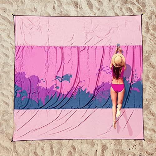 OCOOPA Stranddecke sandfrei XXL, 300x280cm Extra groß, Nylon Picknickdeck wasserdicht weiches und StrandurlaubMeterial, leicht und tragbar, perfekt für Reisen, Camping, Strandurla