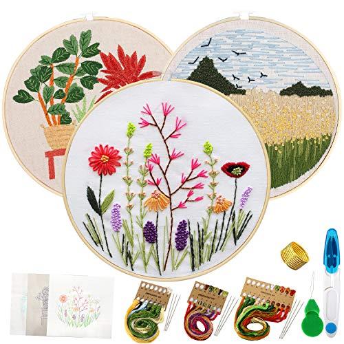 Stickset für Anfänger, 3 Sets Stick-Starter-Kit mit Mustern und Anleitungen, Kreuzstich-Kits enthalten Stickereien mit Muster, Bambus-Stickrahmen, Farbfäden und Werkzeuge