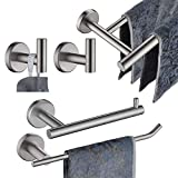 JQK Bathroom Hardware Towel Bar Set, 5-Piece Bath Accessories Set Brushed Finished Wall Mount Includes 24 in Towel Bar, 9 in HT Bar, TP Holder, Towel Hook x 2, BAS105-BN