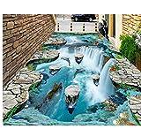 Meaosy Traum-Tapete mit schwimmenden Inseln, Wasserfall, Vögel, Badezimmer, Küche, Pfannen, 3D Bodenbelag
