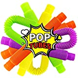 Twdrer 12 Pack Multicolor Pop Tubes Sensory,Stretch, Bend, Build, and Connect Stimming Toy,Stress and Anxiety Relief Toys or Autism,Fidgeter