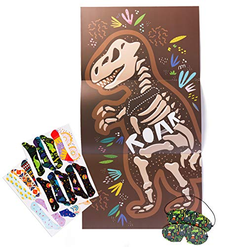 Pin the Tail on the Dinosaur Game, Pin the Bone on the Dinosaur Fossil Party Game for Birthday Parties and Sleepovers, Ideal for Kids and Toddlers, Kids Party Supplies, Holiday Party Favors