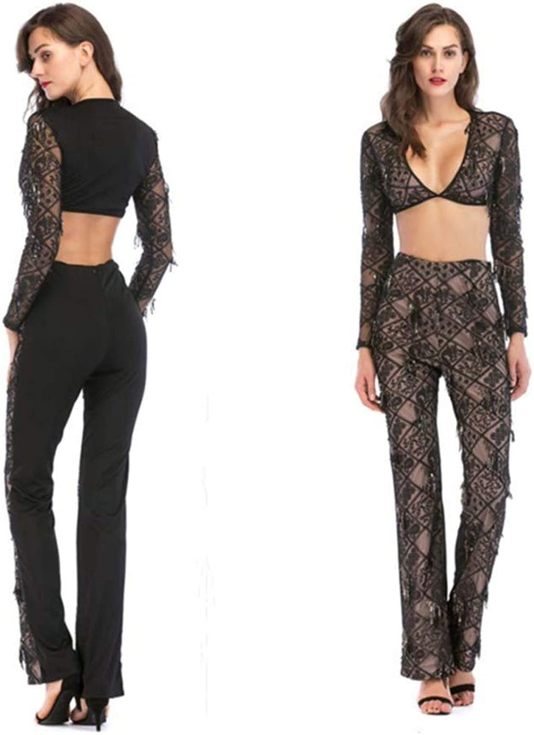 SPFAZJ 2019 New European and American Women's TwoPiece Sequins Sexy Suit Trousers