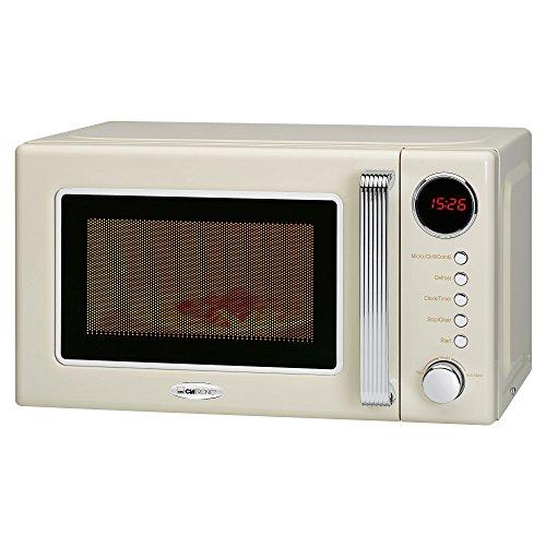 Clatronic MWG 790 - Microondas con grill 20 litros, 700/1000 W, display digital, 9 programas automáticos, timer, serie Rock&Retro estilo vintage, color crema