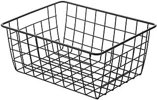 Boîte de Rangement Panier de rangement en fer forgé en fer d'art avec doublure en tissu métal cadre Organisateur Livres de...