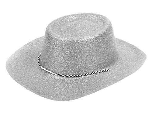 Alsino Glitzer Disco Cowboy Hut Partyhut Glitzerhut mit Kordel, Variante wählen:CW-51 Glitzer Silber