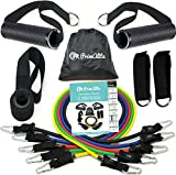 PrimAlite Resistance Exercise Toning Tube Bands Set 11 Pcs- Door Anchor, RUBBER Handles, Ankle Straps, Carry Bag & Workout Chart POSTER-Band Stackable to 100 lbs,Training,Home,Gym,Stretching-Men-Women