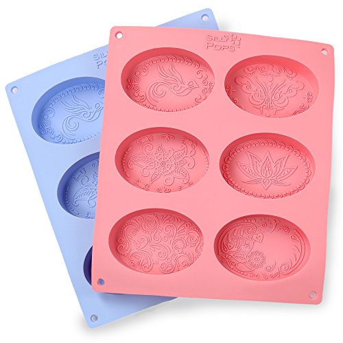 Ellipse en silicone Savon Moules–Lot de 2pour 12cavités–Mixed Patterns–Fabrication de savons Fournitures par le Silly Pops