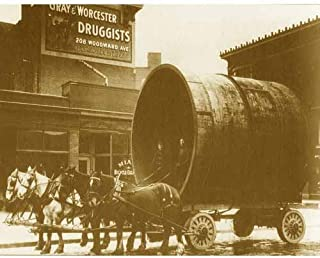 DS Decor Photos Quality Digital Print of a Vintage Photograph - Transporting Sewer Pipe - Detroit 1880's. Sepia Tone 11x14 inches - Luster Finish