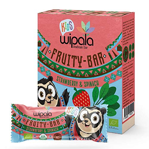 Wipala KIDS Organic Bars, STRAWBERRY, Quinoa & Spinach. Dairy Free, Vegan, No sugar added, 5 ingredients, 12 Count.